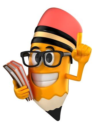 brainy: 3d render of brainy pencil mascot Stock Photo
