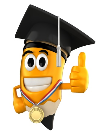 3d render of pencil with a gradaution and medal