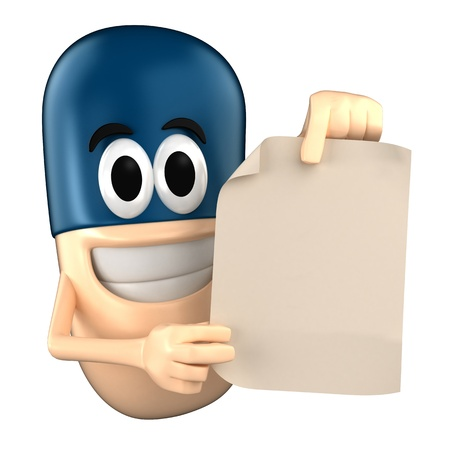 Capsule character showing a piece of paper