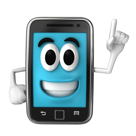 Smartphone character pointing up Stock Photo - 15632884