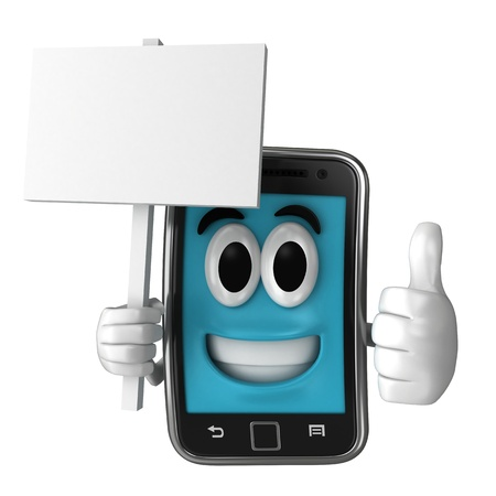 Smartphone character holding a placard while giving thumbsup Stock Photo - 15632883