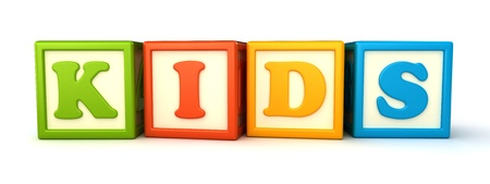 Alphabet building blocks that spelling the word kids photo