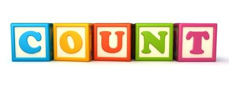 minus: Alphabet building blocks that spelling the word count