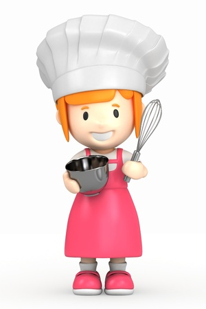 learning to cook: 3d render of a little chef