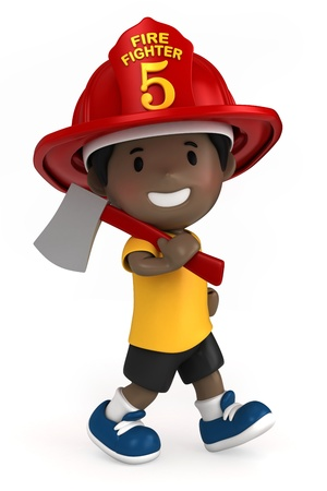 3d render of a firefighter kid holding a toy axe Stock Photo - 15632813