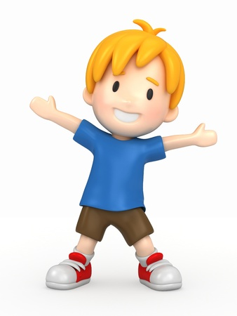 school play: 3d render of a happy boy