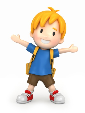 3d render of a happy boy with backpack photo