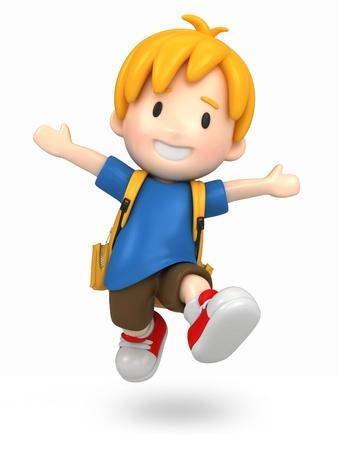 3d render of a jumpi boy with backpack Standard-Bild