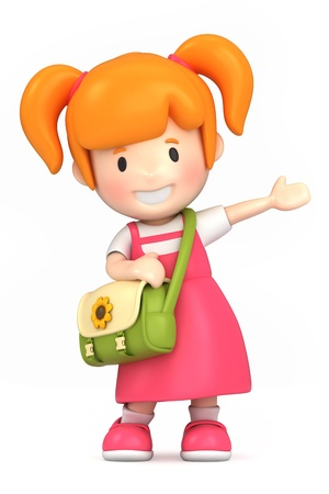 pre school: 3d render of a happy girl