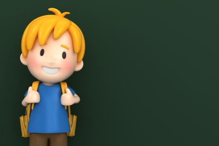 pre school: 3d render of a school boy with chalk board background Stock Photo
