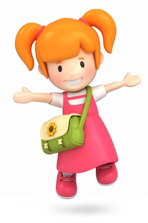 pre school: 3d render of a happy girl jumping Stock Photo
