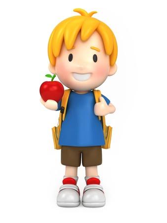 mochila escolar: Render 3D de un ni�o de la escuela con una manzana