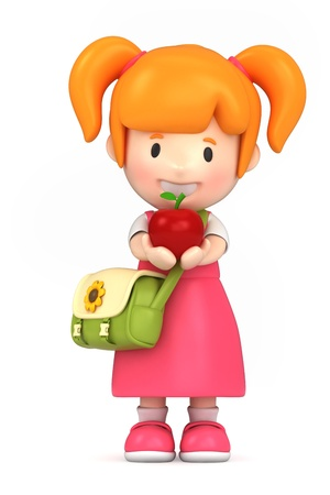 pre school: 3d render of a school girl holding an apple Stock Photo