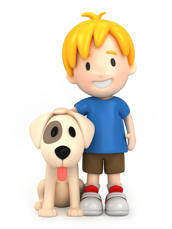 play boy: 3d render of a boy and his dog