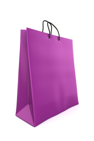 shopping bags: 3d render of a purple shopping bag