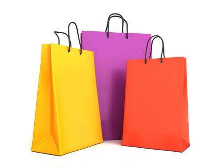 a bag: 3d render of colorful shopping bags