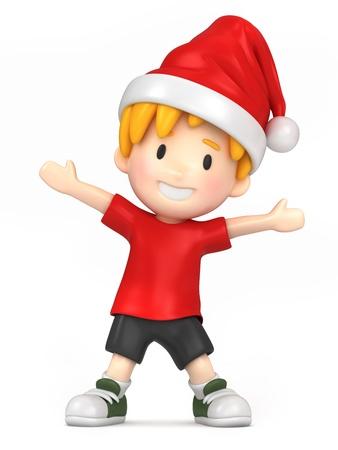 niño feliz llevaba sombrero de santa