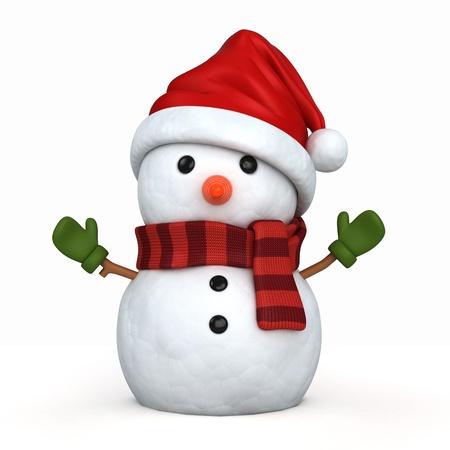 3d render von einem Schneemann mit Weihnachtsmütze und Handschuhe