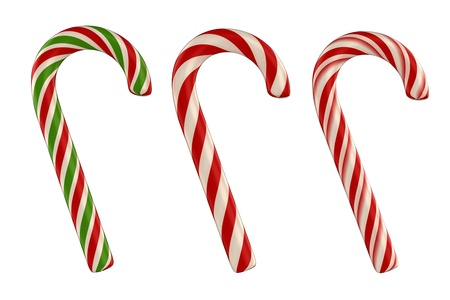 cane: 3d render of candy canes isolated on white  background