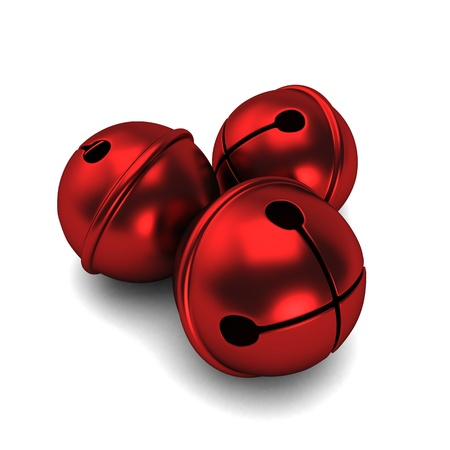 jingle: 3d render of a red shiny sleigh bells