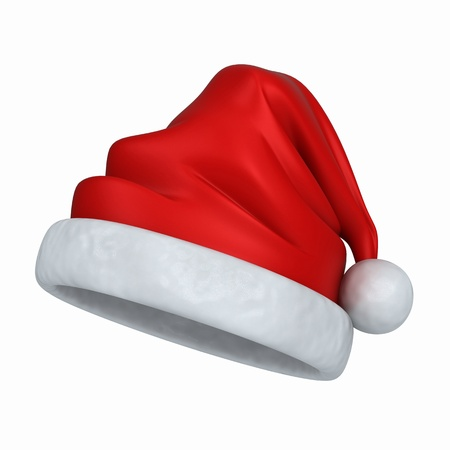 santa: 3d render of a santa hat isolated in white background