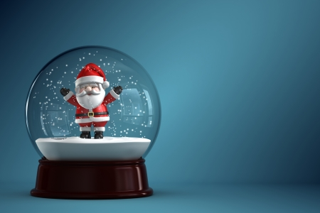 3D Render of snow globe with Santa Claus Stock Photo