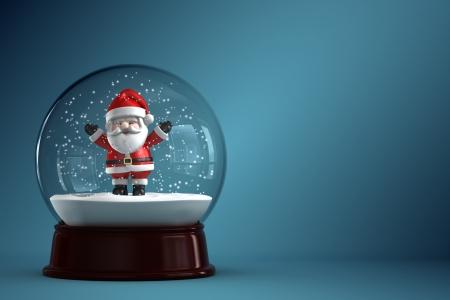 snow globe: 3D Render of snow globe with Santa Claus Stock Photo