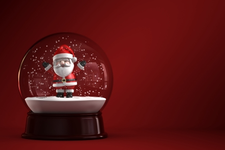 3D Render of snow globe with Santa Claus photo