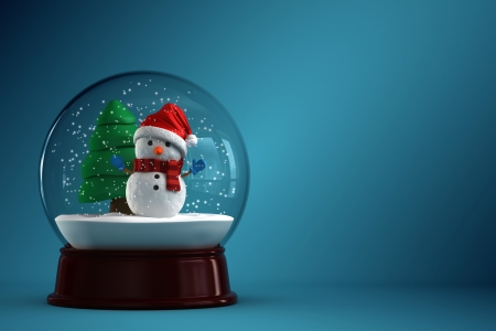 3d render of a snow globe with snowman in blue background photo