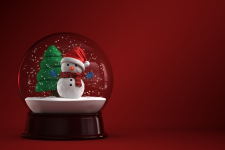 3d render of a snow globe with snowman in red background photo
