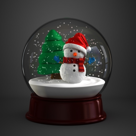 3d render of a snow globe with snowman in dark background photo