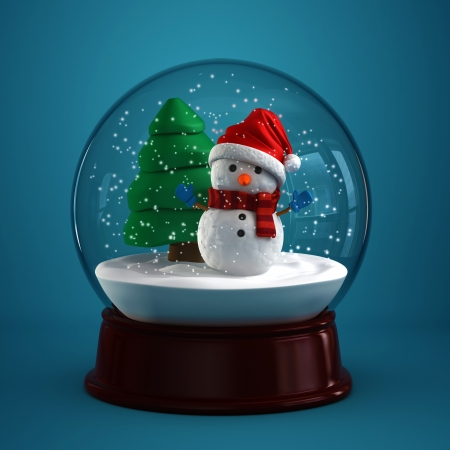 snowman wood: 3d render of a snow globe with snowman in blue background