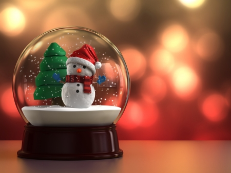 snowman wood: 3d render of a snow globe with snowman