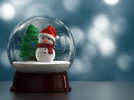 3d render of a snow globe with snowman Stock Photo - 15783672