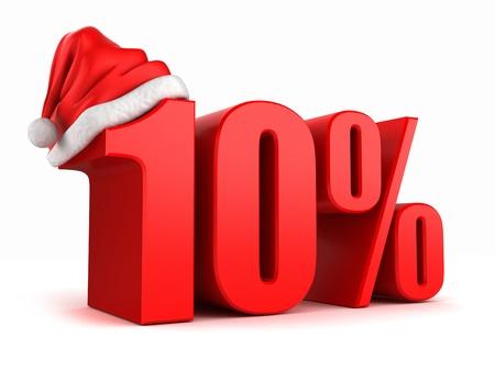 3d render of 10 percent with santa hat