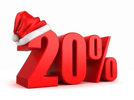 3d render of 20 percent with santa hat