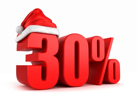 30: 3d render of 30 percent with santa hat