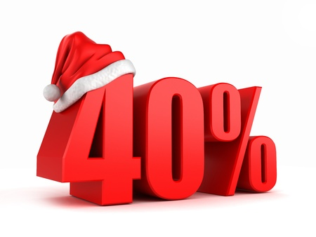 3d render of 40 percent with santa hat