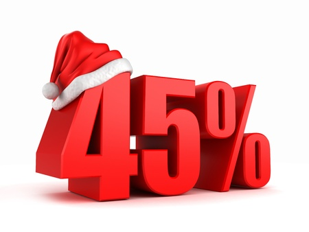 promo: 3d render of 45 percent with santa hat Stock Photo