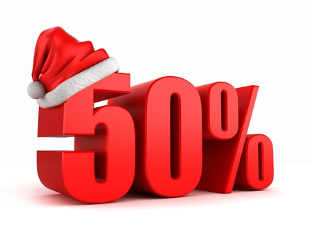 3d render von 50 Prozent mit Weihnachtsmütze Standard-Bild - 15783640
