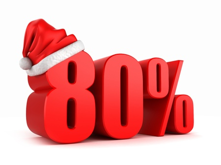 3d render of 80 percent with santa hat photo