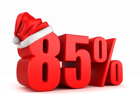 promo: 3d render of 85 percent with santa hat Stock Photo