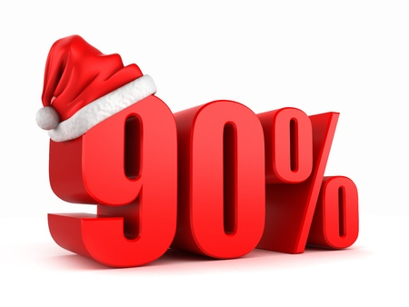 3d render of 90 percent with santa hat Stock Photo - 15783645