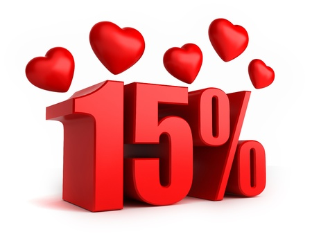 promo: 3d render of 15 percent with hearts Stock Photo