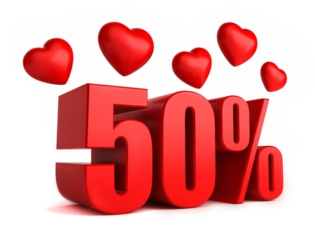 promo: 3d render of 50 percent with hearts