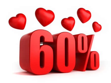 3d render of 60 percent with hearts Stock Photo - 17550607