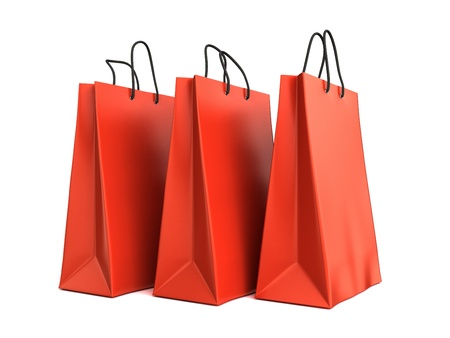 3d render of red shopping bags Stock Photo - 17550625