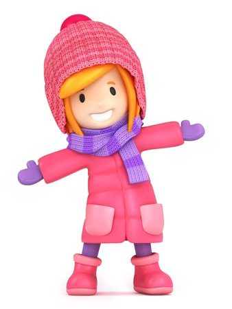 3D render of a happy girl wearing winter clothes
