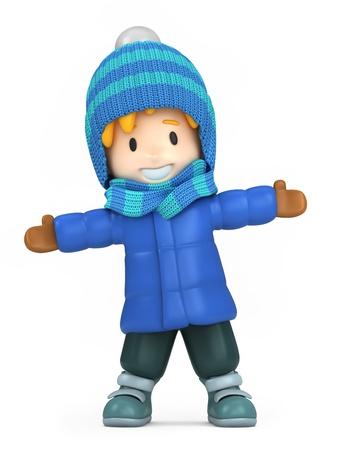 3D render of a happy boy wearing winter clothes Standard-Bild