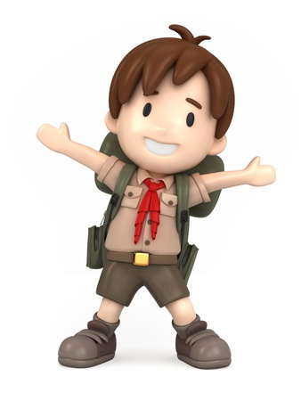 explore: 3D render of happy boy scout